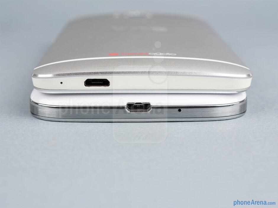 Bottom - The Samsung Galaxy S4 (bottom, left) and the HTC One (top, right) - Samsung Galaxy S4 vs HTC One