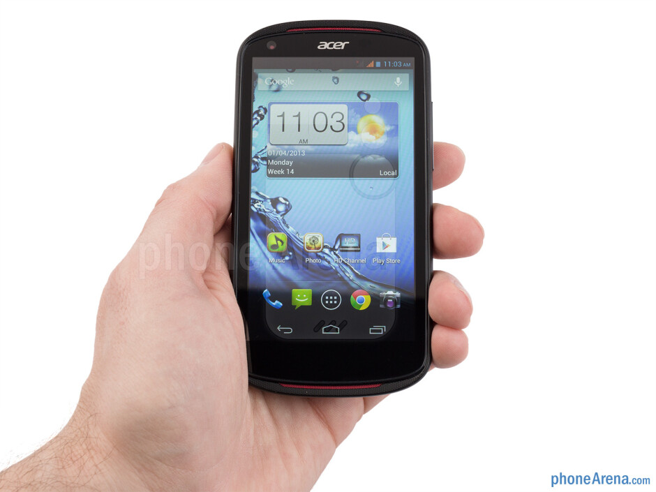 The Acer Liquid E1 is a fairly light and compact phone - Acer Liquid E1 Review