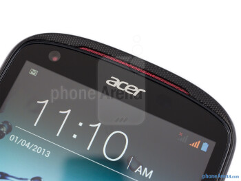 The Acer Liquid E1 has a rounded frontal shape and red speaker grills - Acer Liquid E1 Review