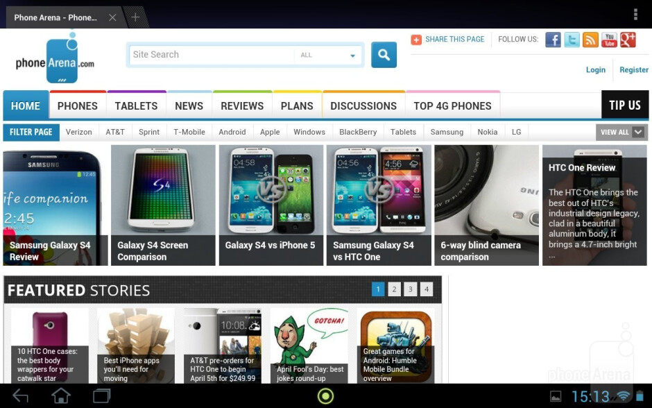 The stock Android browser - Acer Iconia Tab A210 Review