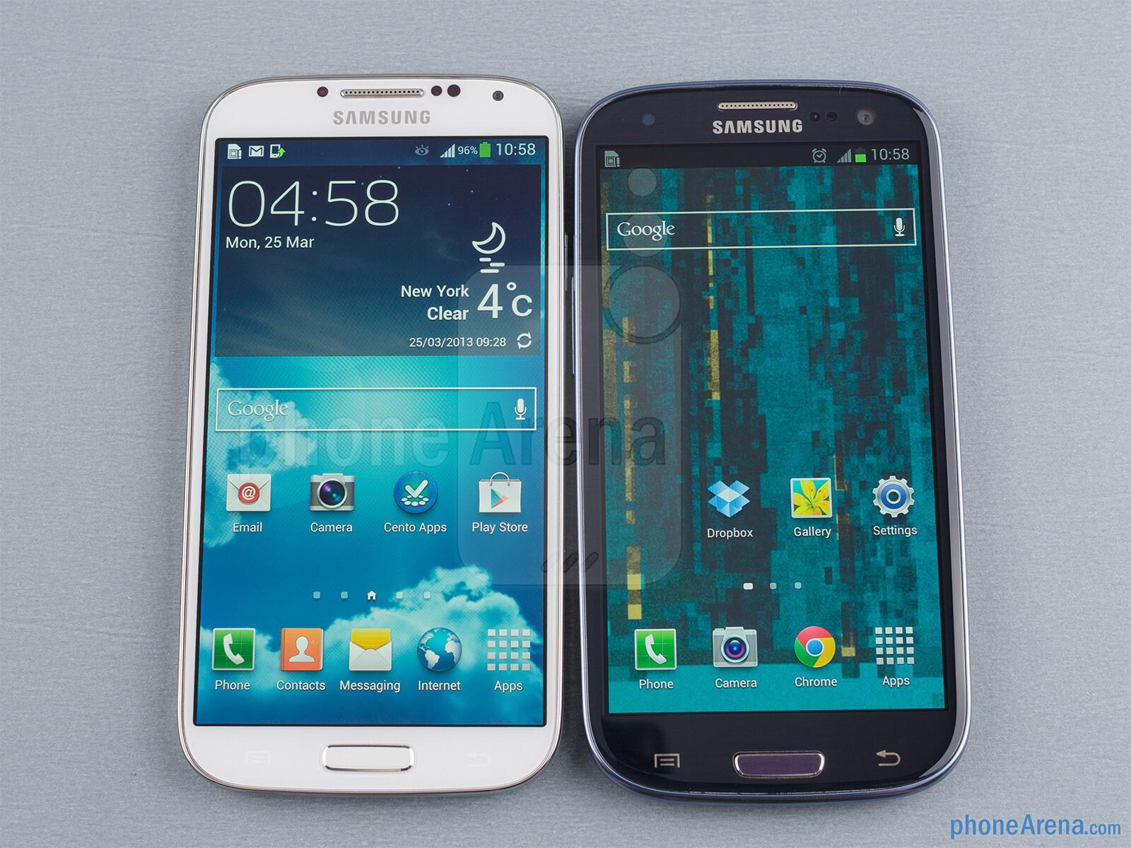 Samsung galaxy s4 vs samsung galaxy s iii the samsung galaxy s4 left and the samsung galaxy s iii right ccuart Gallery