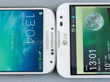 The Samsung Galaxy S4 (left) and the LG Optimus G Pro (right) - Samsung Galaxy S4 vs LG Optimus G Pro
