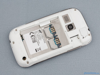 The two SIM card slots are hidden behind the battery - Samsung Galaxy Young Duos Review
