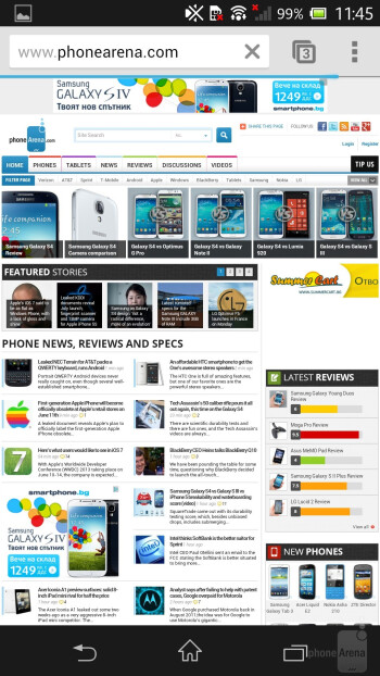 Browsing the web on the Sony Xperia ZL - Sony Xperia ZL Review