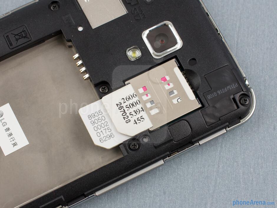 SIM card slots - Back - LG Optimus L7 II Review