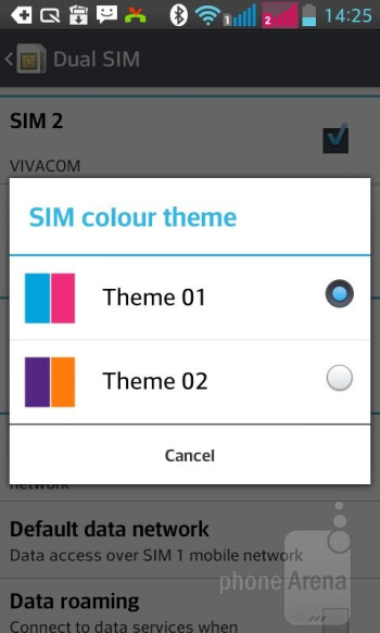 There are two different color schemes throughout all of the menus indicating which SIM card is in use - LG Optimus L7 II Review