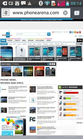 Web browsing with the LG Optimus L7 II - LG Optimus L7 II Review