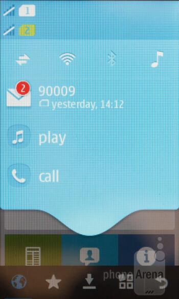 Notification bar - Interface of the Nokia Asha 310 - Nokia Asha 310 Review
