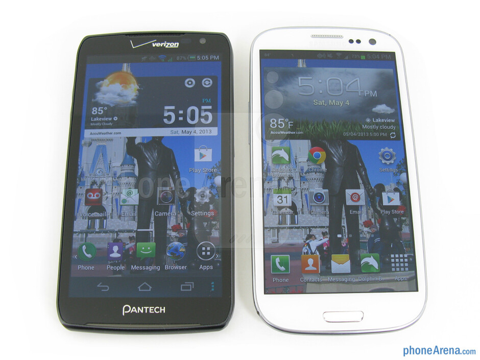 The Pantech Perception (left) is slightly larger overall than the Samsung Galaxy S III (right) - Pantech Perception Review