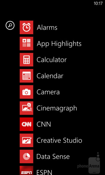 The Windows Phone 8 interface on the Nokia Lumia 928 - Nokia Lumia 928 vs Apple iPhone 5