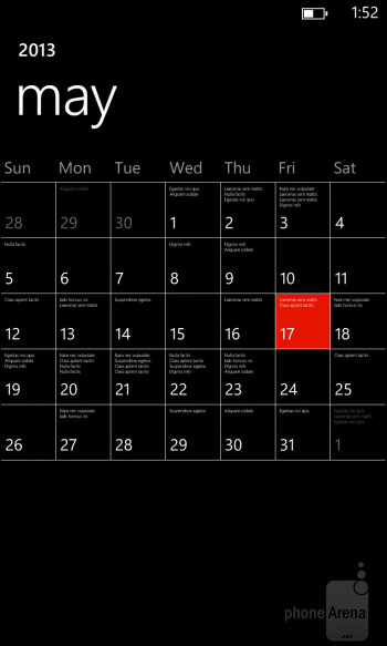 Calendar - Nokia Lumia 928 Review