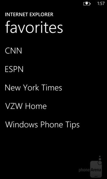 Internet Explorer browser on the Nokia Lumia 928 - Nokia Lumia 928 vs Samsung Galaxy S4