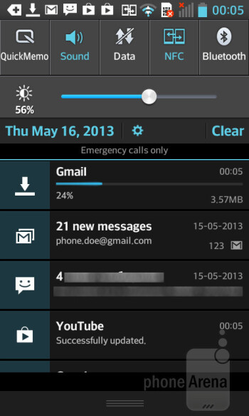 Notification bar - LG Optimus L5 II Review