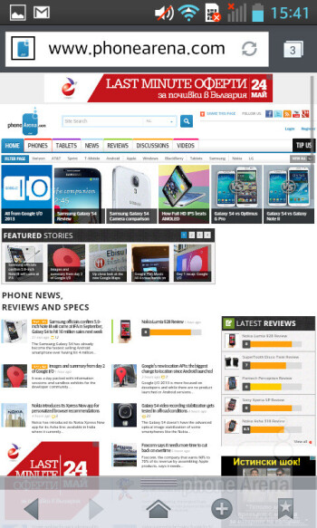 The built-in web browser on the LG Optimus G5 II - LG Optimus L5 II Review