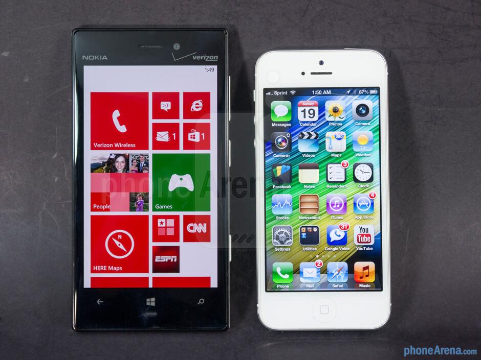 The Nokia Lumia 928 (left) and the Apple iPhone 5 (right) - Nokia Lumia 928 vs Apple iPhone 5