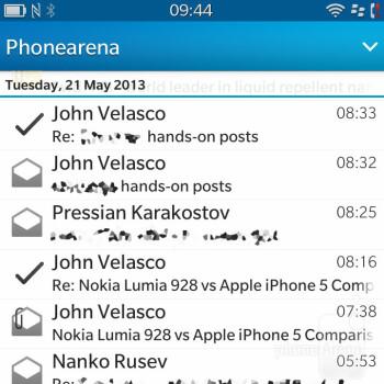 The BlackBerry Q10 Email client - BlackBerry Q10 Review