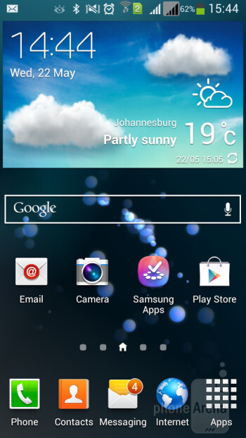 We have Samsung's TouchWiz Nature UX loaded on the Galaxy Mega 5.8, running on top of Android 4.2.2 - Samsung Galaxy Mega 5.8 vs Samsung Galaxy Note II