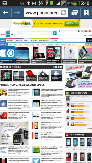 Browsing the web on the Galaxy Mega 5.8 - Samsung Galaxy Mega 5.8 Review