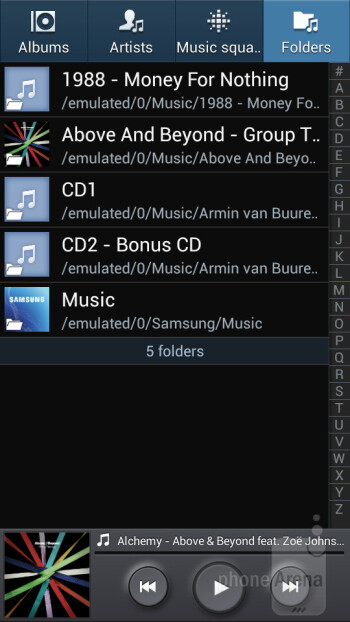 Music player of the Samsung Galaxy Mega 5.8 - Samsung Galaxy Mega 5.8 vs Samsung Galaxy Note II