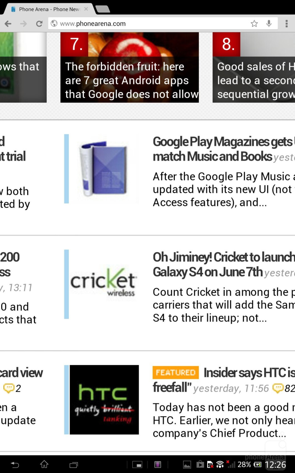 Web browsing on the Sony Xperia Tablet Z - Sony Xperia Tablet Z Review