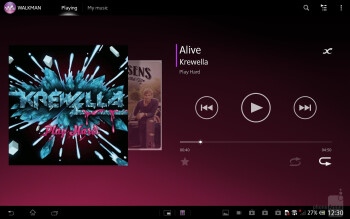 The minimalistic music player of the Sony Xperia Tablet Z - Sony Xperia Tablet Z Review