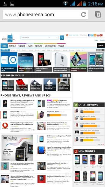 Browsing the web on the Liquid E2 - Acer Liquid E2 Review