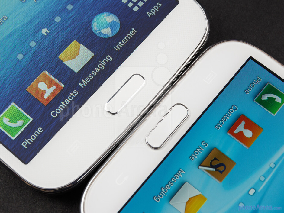 Android buttons - The Samsung Galaxy Mega 5.8 (left) and the Samsung Galaxy Note II (right) - Samsung Galaxy Mega 5.8 vs Samsung Galaxy Note II