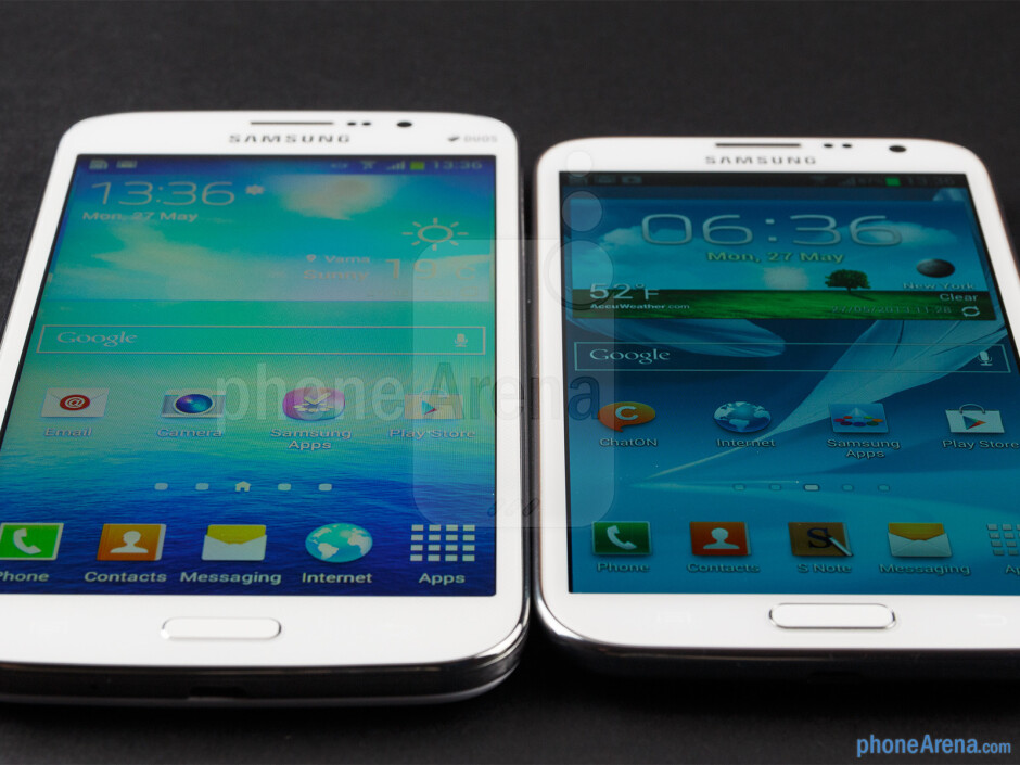 The Samsung Galaxy Mega 5.8 (left) and the Samsung Galaxy Note II (right) - Samsung Galaxy Mega 5.8 vs Samsung Galaxy Note II