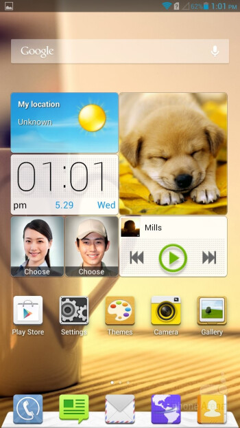 You can hide and show the on-screen navigation bar of the Huawei Ascend Mate at will - Samsung Galaxy Mega 6.3 vs Huawei Ascend Mate