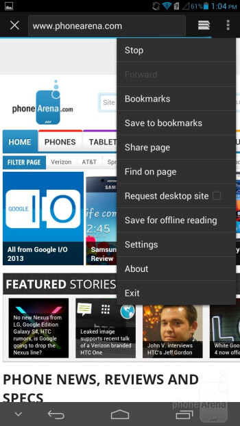 The default Huawei Ascend Mate browser - Samsung Galaxy Mega 6.3 vs Huawei Ascend Mate