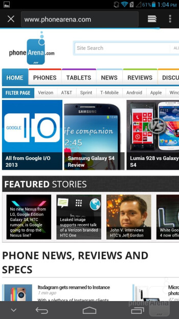 The default Huawei Ascend Mate browser - Huawei Ascend Mate Review
