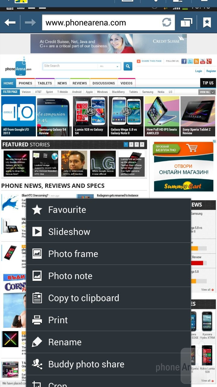 The gallery app has a built-in editing option with a rich set of features - Samsung Galaxy Mega 6.3 Review