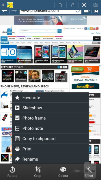 The gallery app of the Samsung Galaxy Mega 6.3 has a built-in editing option with a rich set of features - Samsung Galaxy Mega 6.3 vs Huawei Ascend Mate