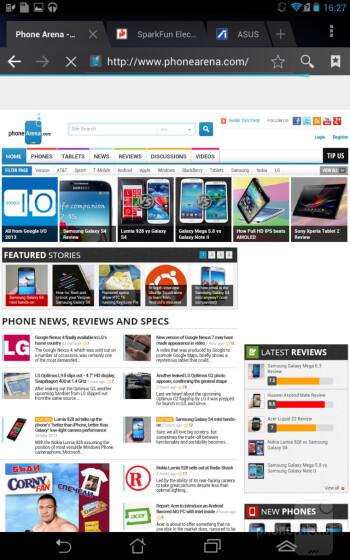 The web browser of Asus Fonepad - Asus Fonepad Review