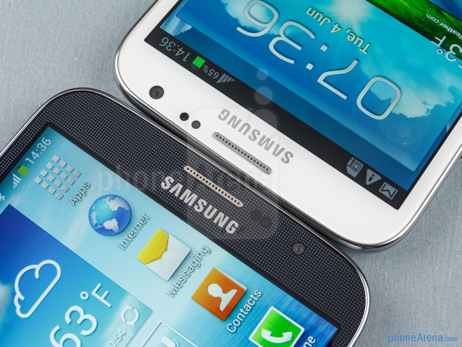 Front cameras - The Samsung Galaxy Mega 6.3 (left) and the Galaxy Note II (right) - Samsung Galaxy Mega 6.3 vs Galaxy Note II