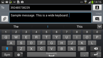 The on-screen keyboard is pretty comfortable - Samsung Galaxy S4 Active Preview