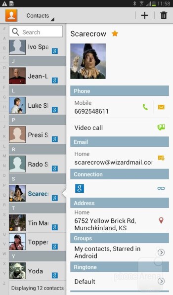 Phonebook - Samsung Galaxy Tab 3 7-inch Preview
