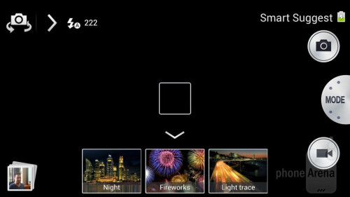 The camera app gives you multiple shooting modes and settings