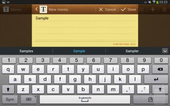 On-screen keyboard - Samsung Galaxy Tab 3 8-inch Review