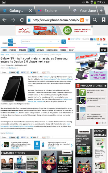 The built-in web browser of the Samsung Galaxy Tab 3 8-inch - Samsung Galaxy Tab 3 8-inch Review