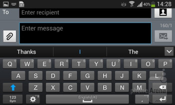 The on-screen keyboard comes with word prediction and over 50 different input languages - Samsung Galaxy Ace 3 Review