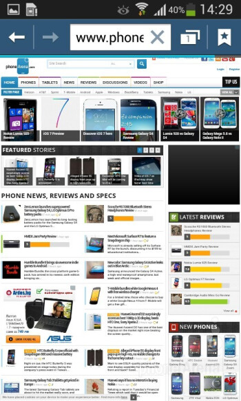 The browser renders pages quickly and zooming is smooth - Samsung Galaxy Ace 3 Review