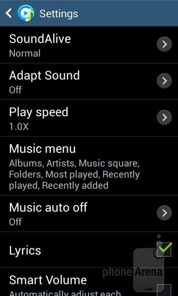 Listening to music is handled by the stock TouchWiz player - Samsung Galaxy Ace 3 Review
