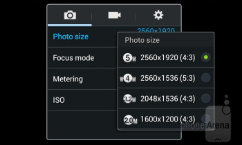 The camera interface of the Samsung Galaxy Ace 3 - Samsung Galaxy Ace 3 Review