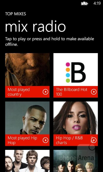 Both phones have the stock Windows Phone music application - Nokia Lumia 520 vs Nokia Lumia 620