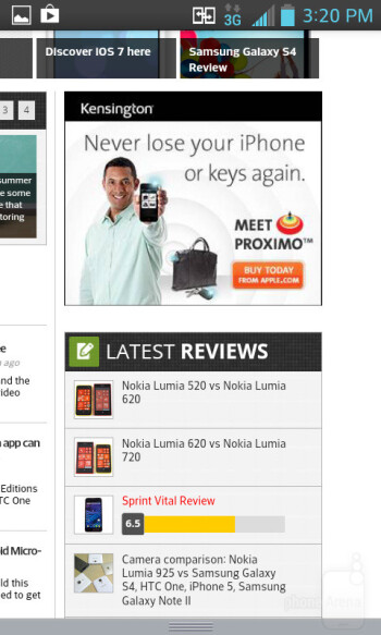 The stock web browser found on the LG Optimus F3 - LG Optimus F3 Review