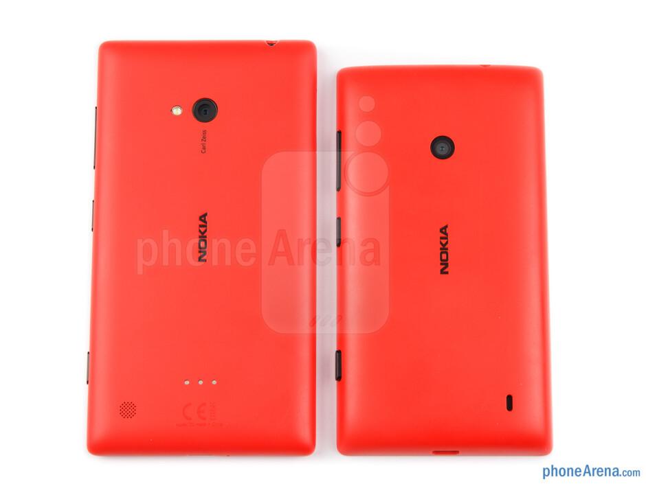 The Nokia Lumia 520 (right) and Lumia 720 (left) both share a plastic body - Nokia Lumia 520 vs Nokia Lumia 720