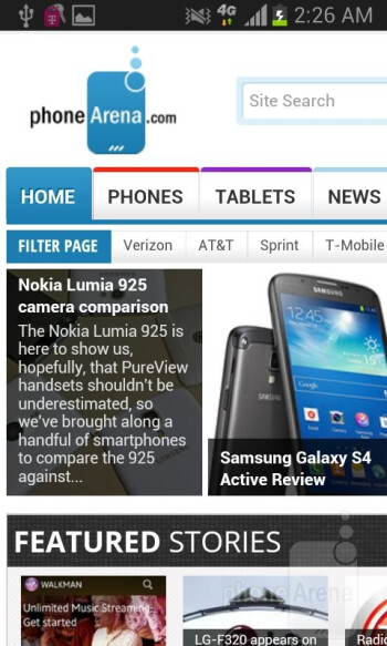Web browsing with the Samsung Galaxy Exhibit - Samsung Galaxy Exhibit Review