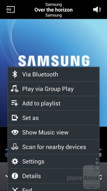 The music player is the tried stock TouchWiz one - Samsung Galaxy S4 Zoom Review