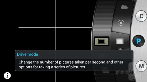 The camera app interface of the Samsung Galaxy S4 Zoom
